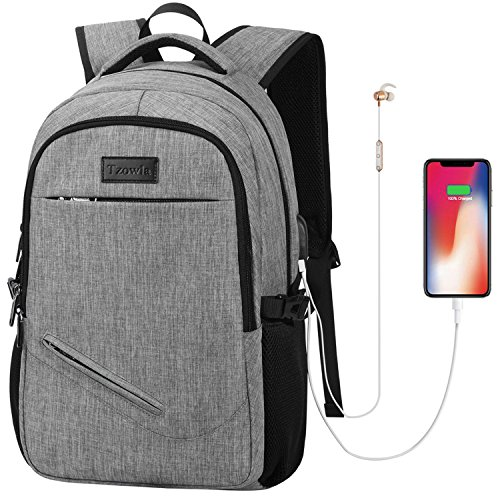 Tzowla Laptop Backpack, Anti-Theft Slim College Backpack USB Charging Port Business Travel Lightweight Computer Backpack Work Bag Men Women Students Fits 15.6 in Laptops (Gray) by Tzowla