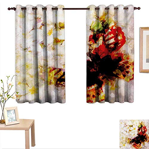 China Rose Block Garden (BlountDecor Paisley Decorative Curtains for Living Room Fresh Flower Garden with Orchids Roses Jasmines and Butterflies in Abstract Design 55