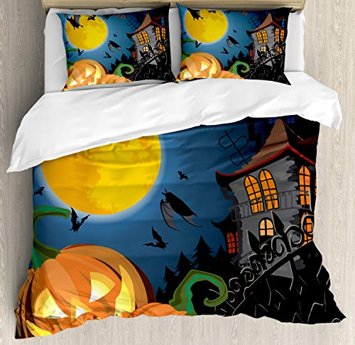 Ambesonne Halloween Duvet Cover Set Queen Size, Gothic Halloween Haunted House Party Theme Design Trick or Treat Motifs Print, Decorative 3 Piece Bedding Set with 2 Pillow Shams, Orange Black