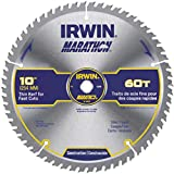 IRWIN 10'' X 5/8'' Diamond X .063'' 8300 RPM 60 Teeth ATB Grind Vise, Grip Marathon Carbide Tipped Circular Saw Blade (For Use With Miter/Table Saw) (Carded), 1 Each