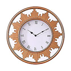 Jerry & Maggie - Large 22 Multi Function Wall Clock with Frame Mirror Background | Tower Shape Sculpture Frame Home Decor with Battery Compartment and Wall Mounting Design - Bronze Color