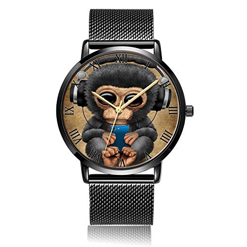 TobyFord Customized Wrist Watch, Cute Monkey Pattern Design Analog Quartz Wrist Watch for Women and Men, Durable Personalized Stainless Steel Wrist Watch Classic Fashion Watch for Couples and Lovers