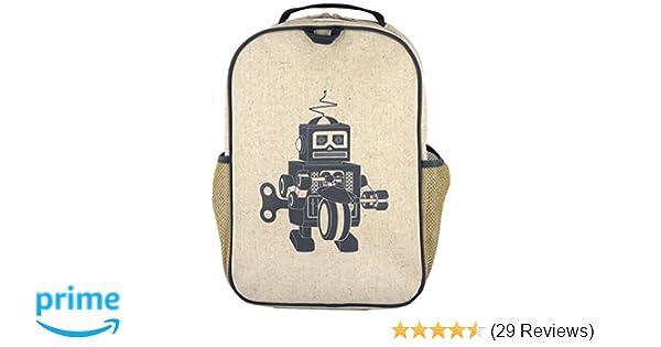 SoYoung Grade School Backpack - Raw Linen, Eco-Friendly, Non-Toxic,  Retro-Inspired Design - Grey Robot 834bba90b1