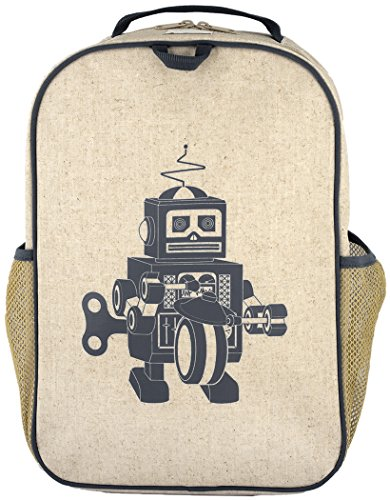 SoYoung Grade School BackPack - Raw Linen, Eco-Friendly, Non-Toxic, Retro-Inspired Design - Grey Robot (Raw Linen)