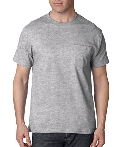 Hanes Short Sleeve Beefy Pocket T-Shirt - 5190, Light Steel, XX-Large