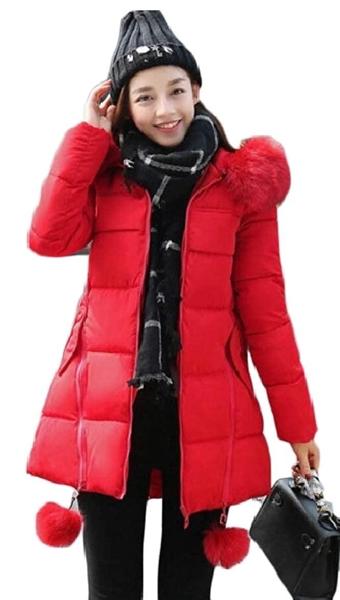 LEISHOP Women Long Thickened Fur Hooded Down Jacket Coat Outwears