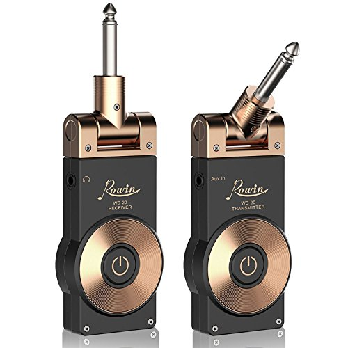 Wireless Guitar Transmitter - Rowin 2.4GHZ Rechargeable Guitar Wireless Transmitter Receiver Wireless Guitar System with Battery Indicator Function (Golden Plug)
