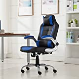 Belleze High-back Ergonomic PU Leather Racing Chair Executive Office Reclining Chair, (Black/Blue)