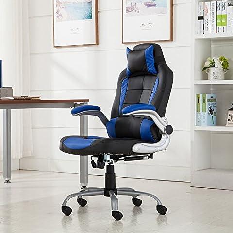 Belleze High-back Ergonomic PU Leather Racing Chair Executive Office Reclining Chair, (Black/Blue)