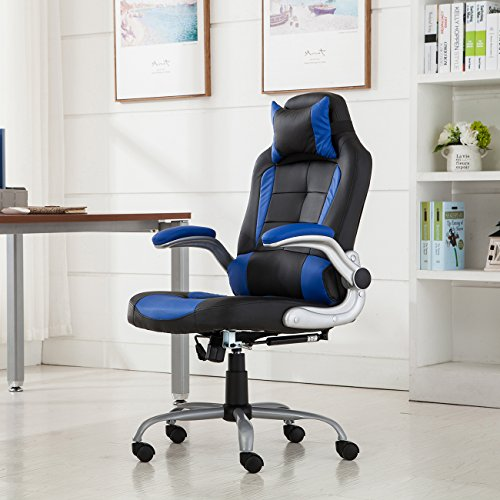 Belleze High-back Ergonomic PU Leather Racing Chair Executive Office Reclining Chair, (Black/Blue) by Belleze