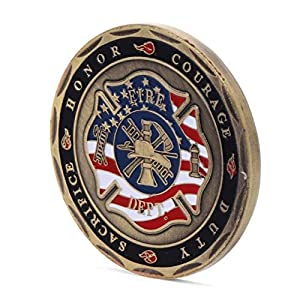 Momoso_store St. Florian Patron Saint Firefighters Fire Rescue Commemorative Challenge Coin by Momoso_store
