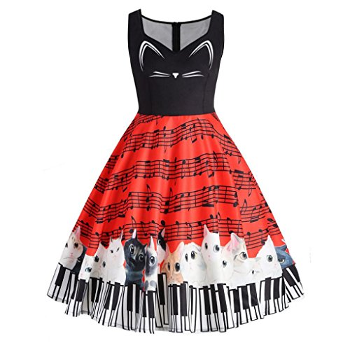AmyDong Hot Sale! Ladies Dress, Womens Cat Musical Note Printing Sleeveless Party Dress Vintage Lace Dress Womens Puff Skirt(S-5XL) (M, Red) for $<!--$7.55-->