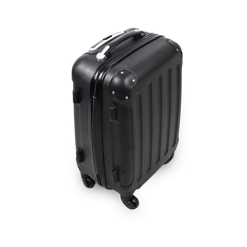 Todeco - Valise à Main, Bagage pour Cabine - Taille (roues incluses): 56 x 38 x 22 cm - Taille intérieure: 49 x 35 x 21 cm - Coins protégés, Bagage de cabine 51 cm, Noir, ABS