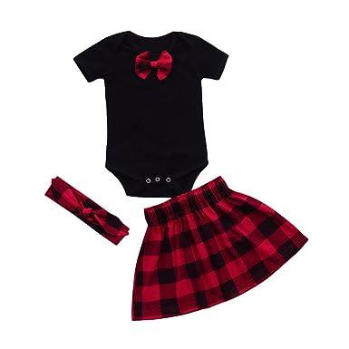 5bc91274a HUI Enfant Filles Garçon Vêtements Ensemble, 0-18 Mois Naissance Pyjama Bébé  Filles Pas Cher Plaid Manche Longue Barboteuse Combinaison + Robe + Bandeau  ...