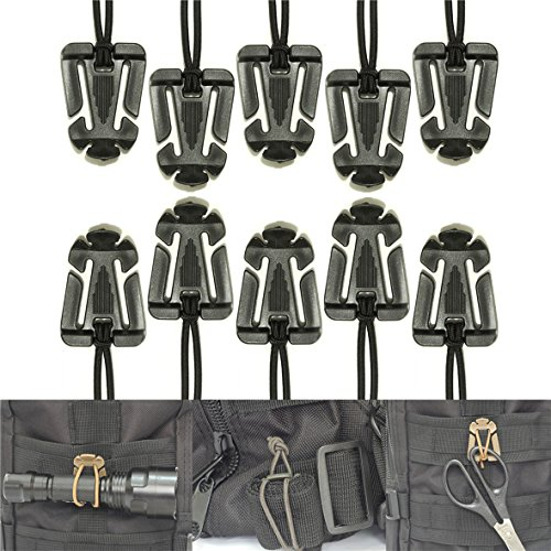 Sweetfun Tactical Gear Clip Molle Web Dominators for Outdoor Hydration Tube Backpack Straps Management 10 Pack - Suits Custom Speed