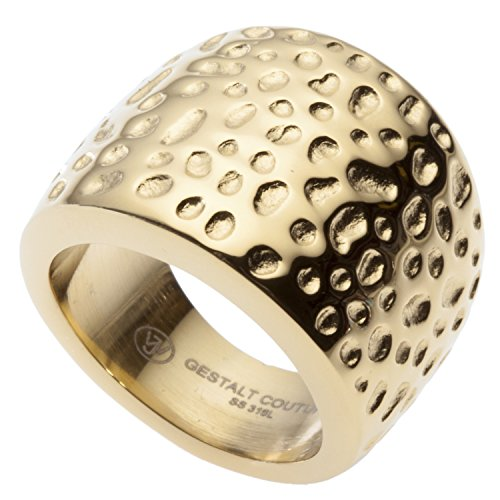 18kt Gold Plated Cocktail Ring by GestaltCouture. Hammered Design. Surgical Stainless Steel. RSS18GLH8