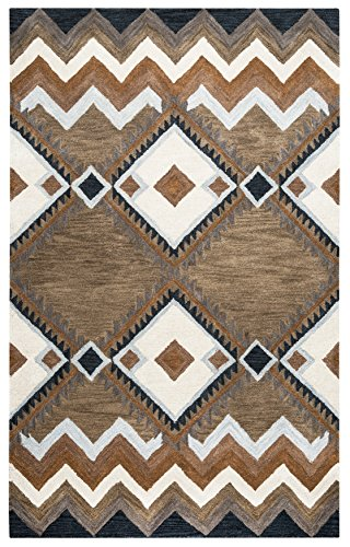 Rizzy Home Tumble Weed Loft Collection Wool Multi/Navy/Blue/Light Blue/Dark Taupe/Camel/Off White Southwest/Tribal Area Rug 8' x 10'