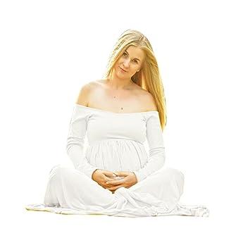 Vestido largo para embarazadas de manga larga y con hombros descubiertos, estilo informal y holgado