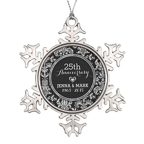 (Dukly Christmas Black & Silver 25th Wedding Anniversary Ornament 5)