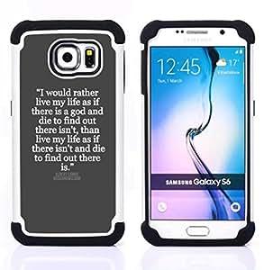 Samsung Galaxy S6 / SM-G920 - 3 en 1 impreso colorido de Altas Prestaciones PC Funda chaqueta Negro cubierta gel silicona suave (Gris Blanco cita inspiradora Jesús Dios)