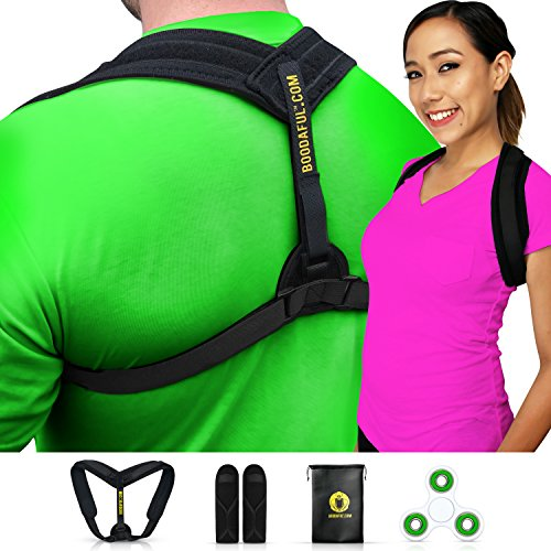 Back Posture Corrector for Women and Men -Comfy Back Brace for Back Pain Relief - Easily Self Adjustable Back Support Improves Posture - Very Effective Back Posture Brace - Posture Trainer by Boodaful (Spinner Aid Training)
