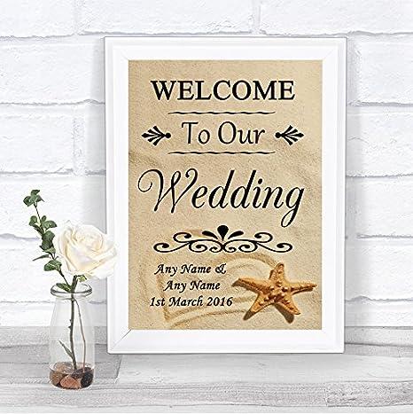 Amazon.com: Playa arena Bienvenido a nuestra boda signo de ...