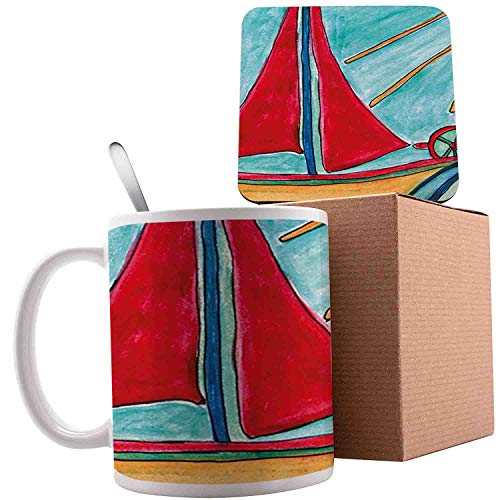 Baby Boy Paintings Ship in The Waves of Ocean Sun Kids Girls Nursery Picture, Teal Red Earth Yellow;Ceramic mug with Spoon & Coaster Creative Morning Milk Coffee Tea Porcelain 11oz gifts for family