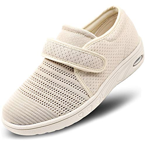 MEJORMEN Womens Breathable Mesh Walking Shoes Adjustable Slip-On Outdoor Sneakers Diabetic Recovery Slippers for Elderly Beige, 7.5