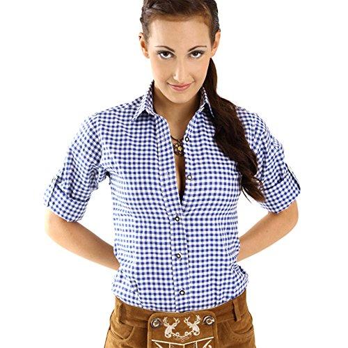 Almbock Trachtenbluse Jessie dunkelblau in Gr. 34 36 38 40 42 44 - Dunkel-blau karierte Damen-Trachtenbluse für Oktoberfest, Wiesn, Wasen