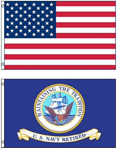 Mission Flags 3x5 ft. US American and US Navy Retired Polyes