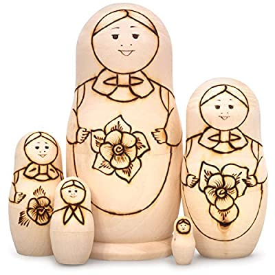 Guslitsa Paint Your Own Matryoshka with Flowers (Nesting Doll): Toys & Games