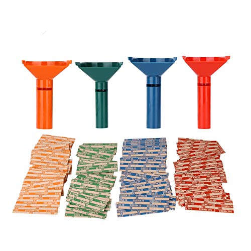 - Coin Counters & Coin Sorters Tubes Bundle of 4 Color-Coded Coin Tubes and 100 Assorted Coin Wrappers