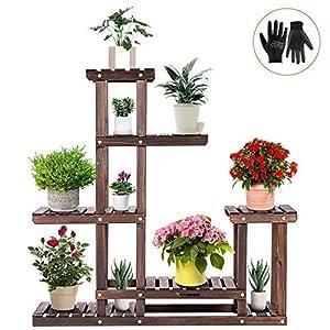 VIVOSUN Wood Plant Stand High Low Shelves Flower Rack Display for Indoor Outdoor Garden Lawn Patio Bathroom Office…