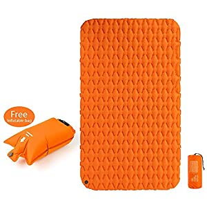 Forall-Ms Double Camping Inflatable Sleeping Pad with Air Bag,Ultralight Moisture-Proof Travelling Inflating Air Mattress Camping Mat,Orange