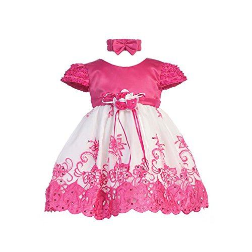 Shanil Baby Girls Fuchsia White Floral Jeweled Easter Flower Girl Bubble Dress 3M -