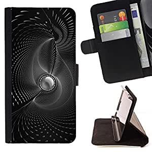 BETTY - FOR HTC One M7 - B & W Abstract Swirls - Style PU Leather Case Wallet Flip Stand Flap Closure Cover