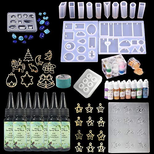 Crystal Clear Transparent UV Epoxy Resin 210ml Kit 15 Silicone Molds 15 Shimmer Pigment 12 Glitters 9 Open Back Bezels + Traceless Tape for Crafts Jewelry Pendants Earrings Making