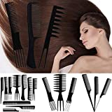 10Pcs Comb Anti Dandruff Non-Static and Eco-friendly Multi-function Comb Set, Great for Scalp and Hair Health, Black