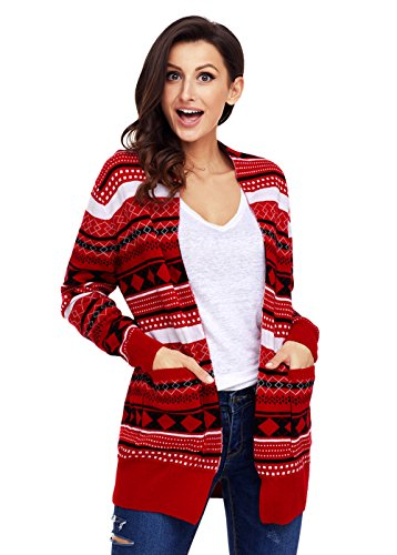 Geometric Knit Open Cardigan For Women Long Sleeve Unique Warm Fashion Lightweight Red Striped Christmas Sweater RD4