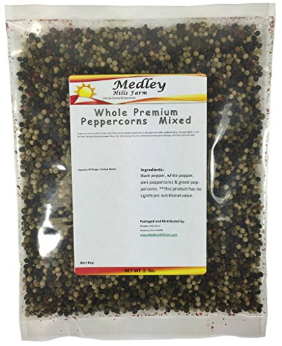 Medley Hills Farm Whole Premium Peppercorns Mixed white, black, green and pink 8 oz