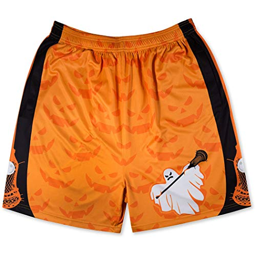 Premium Lacrosse Athletic Shorts | Halloween Lax Ghost | Adult Small -