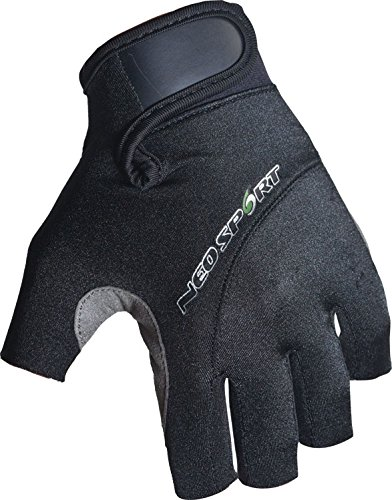 NeoSport 3/4 Finger Neoprene Gloves, 1.5mm - Unisex Design for Obstacle Racing, Biking, Sailing and Paddle Boarding - Offer Protection and a Reliable Grip - Soft, Comfortable Fit, Black, Large
