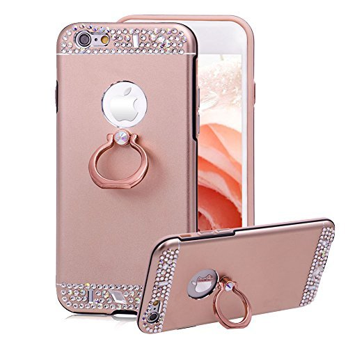 Price comparison product image Aearl Diamond Case for iPhone 7 Plus/8 Plus, [360 Degree Rotating Ring Stand Holder] Bling Glitter Crystal Metal Protective Cover Hardcase with Screen Protector for iPhone 8 Plus/7 Plus - Rose Gold