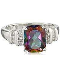 Sterling Silver Mystic Fire Topaz and Created White Sapphire Cushion Ring, Size 7