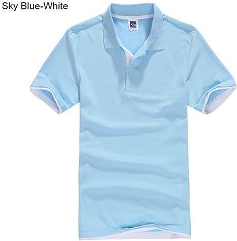 NISHISHOUZI Polo,Luz Azul Polo para Hombre Hombres Camiseta De ...