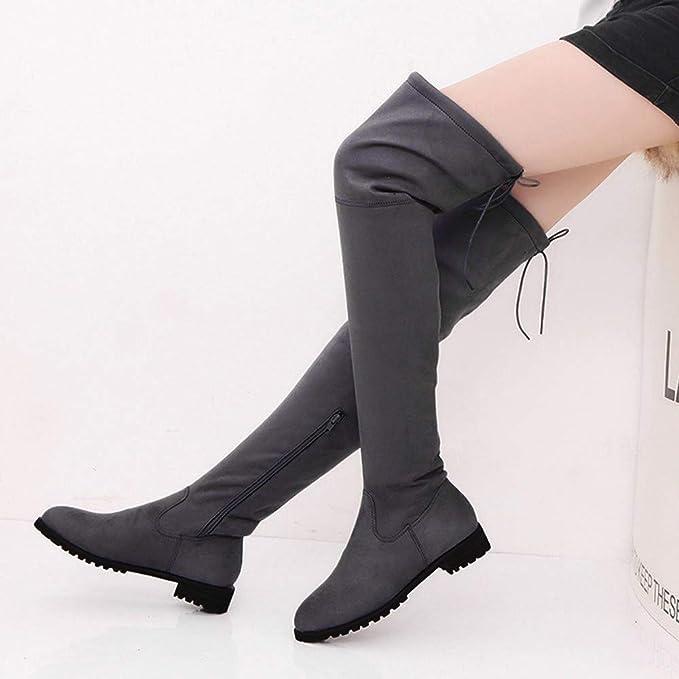 YiYLunneo Botas De Nieve Mujer Invierno Botines Dies Womens Buckle Slim High Sobre La Rodilla Zapatos CN 36-43: Amazon.es: Ropa y accesorios