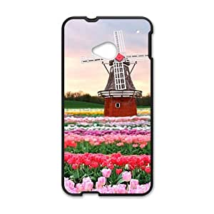Beautiful flowers and windmill lovely phone case for HTC One M7 wangjiang maoyi by lolosakes