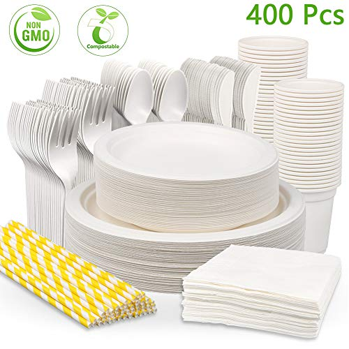 400Pcs Disposable Dinnerware Set,Compostable Sugarcane Cutlery, Eco-Friendly Paper Plates, Compostable Cornstarch Forks, Knives, Spoons, Cups,Straws and Napkins for Party, Camping,Picnic (50 Guests)