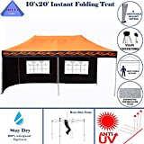 10'x20′ Ez Pop up Canopy Party Tent Instant Gazebos 100% Waterproof Top with 6 Removable Sides Orange Flame – E Model By DELTA Canopies Review