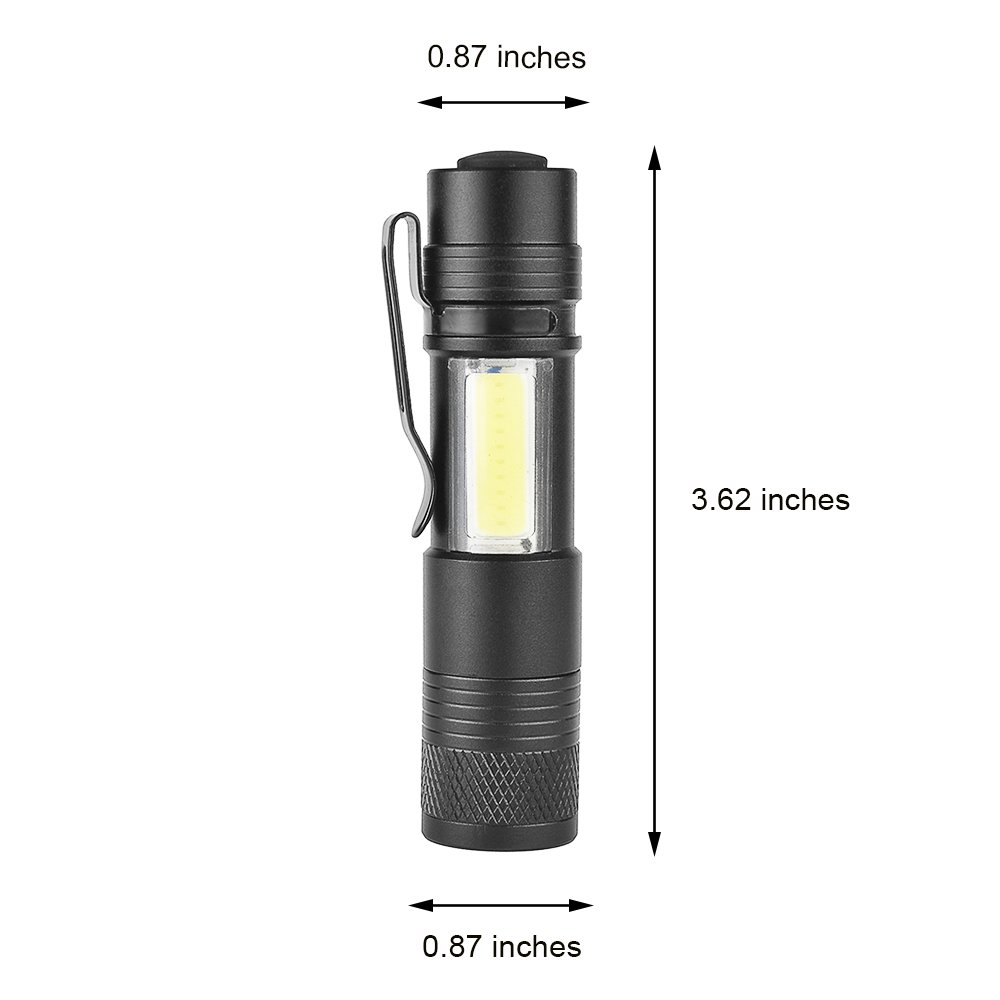 MODOAO COB LED Flashlights, Super Bright 200 Lumens Zoomable Work Light,Waterproof Pocket Lights with Cilp-6 Pack by MODOAO (Image #6)